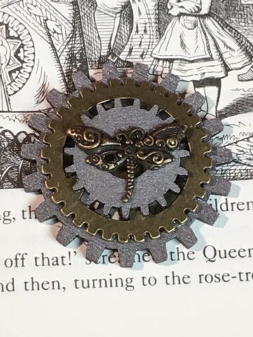 Steampunk Goggle Insert with bronze dragonfly