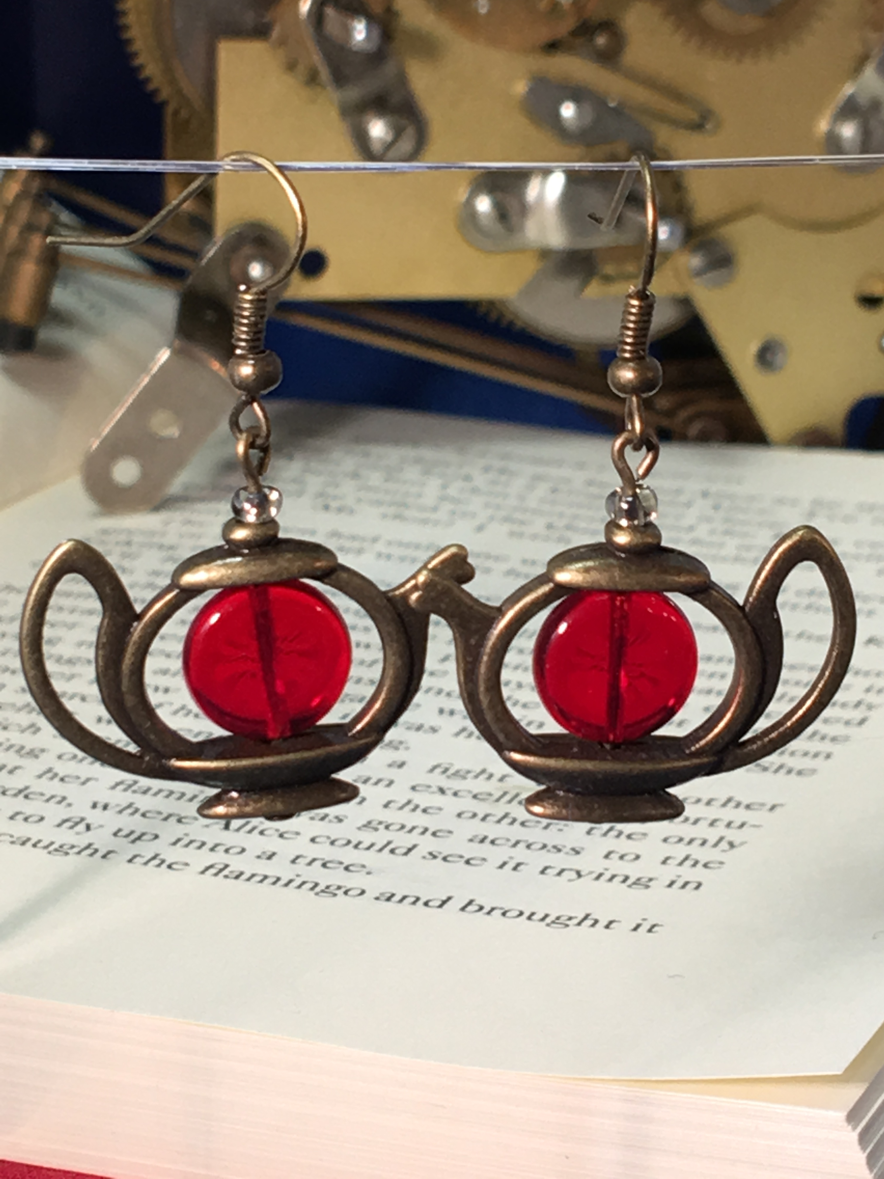 alice teapot earrings bronze