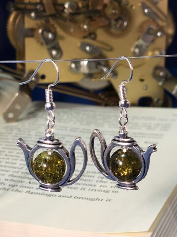 alice teapot earrings silver
