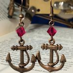 anchor earrings red
