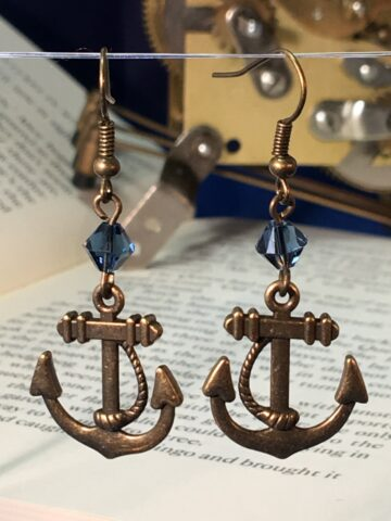 anchor earrings denim blue