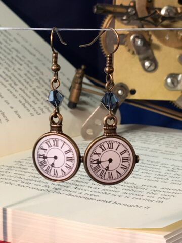 clock earrings denim blue