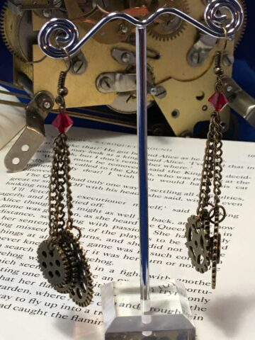 cog charm earrings red