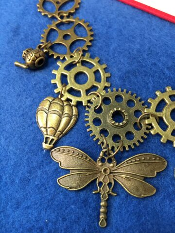 cog charm necklace dragonfly