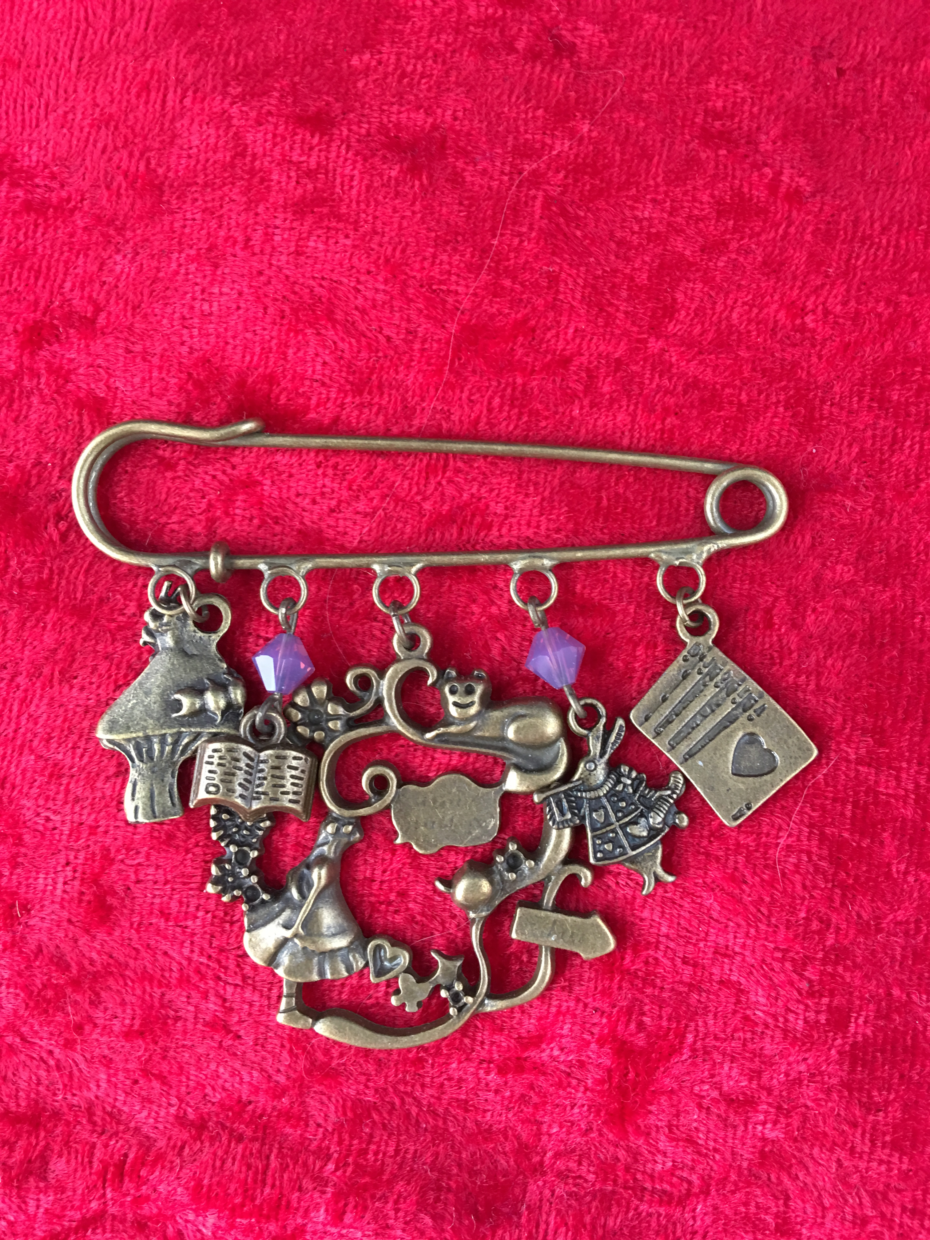 kilt pin brooch alice in wonderland
