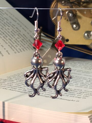 octopus earrings silver